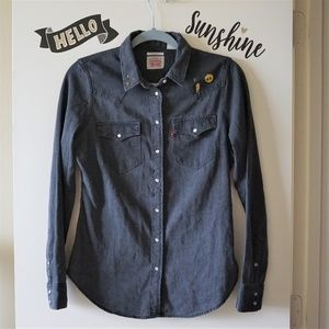 Levi's Gray Western Button Down Chambray Shirt S